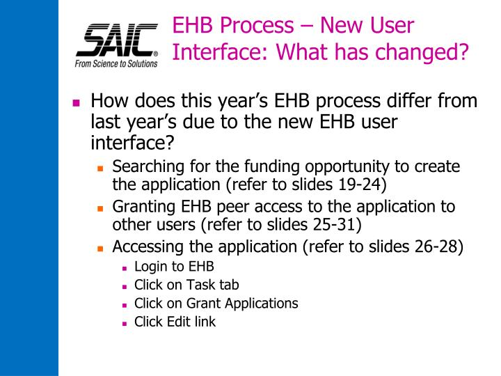 EHB Process – New User Interface: What has changed?