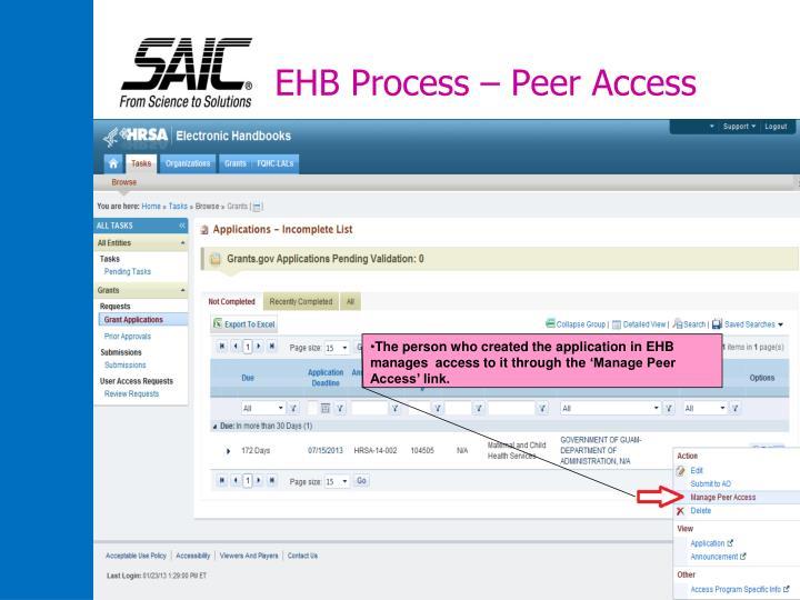 EHB Process – Peer Access