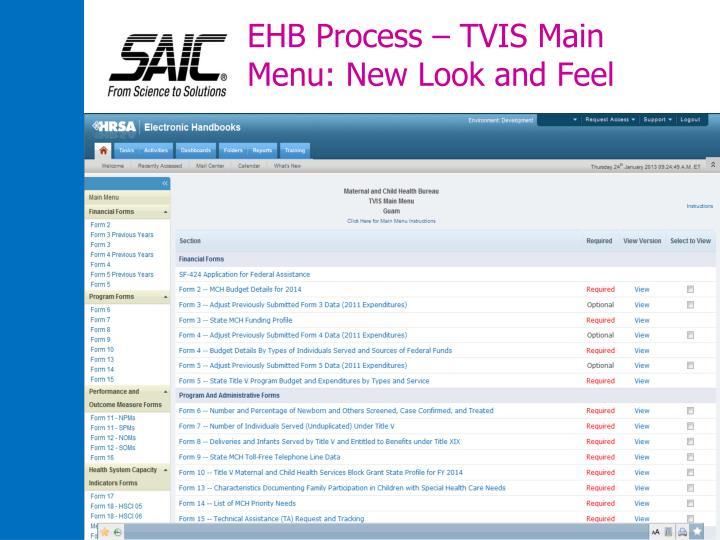 EHB Process – TVIS Main Menu: New Look and Feel