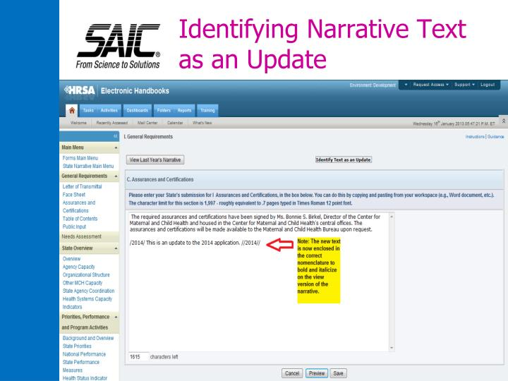 Identifying Narrative Text as an Update