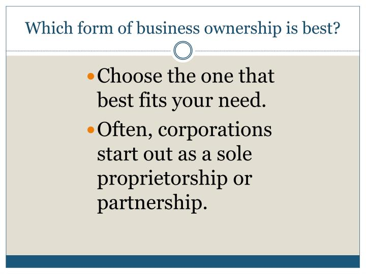 Which form of business ownership