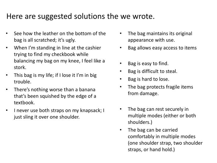 Here are suggested solutions the we wrote