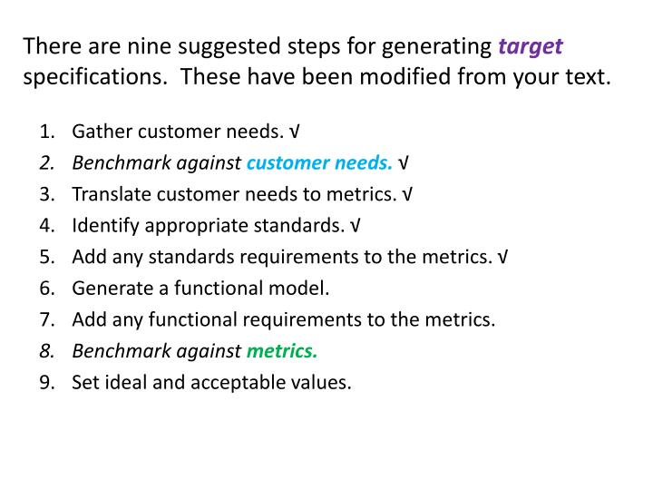 There are nine suggested steps for generating