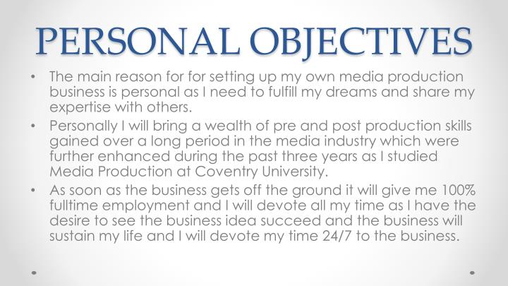 PERSONAL OBJECTIVES