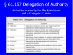 61 157 delegation of authority