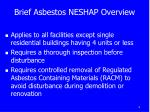 brief asbestos neshap overview