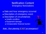 notification content emergency renovations