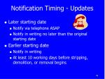 notification timing updates