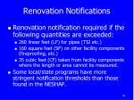 renovation notifications
