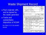 waste shipment record