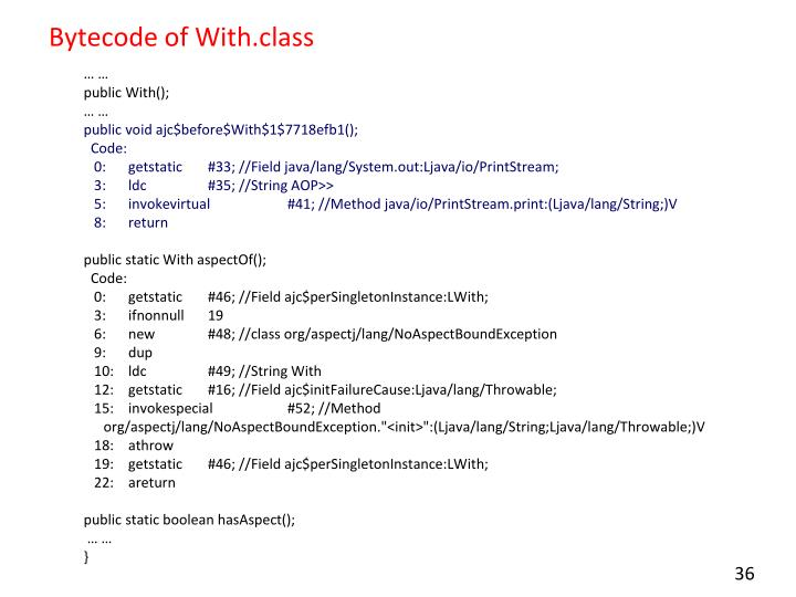 Bytecode of With.class