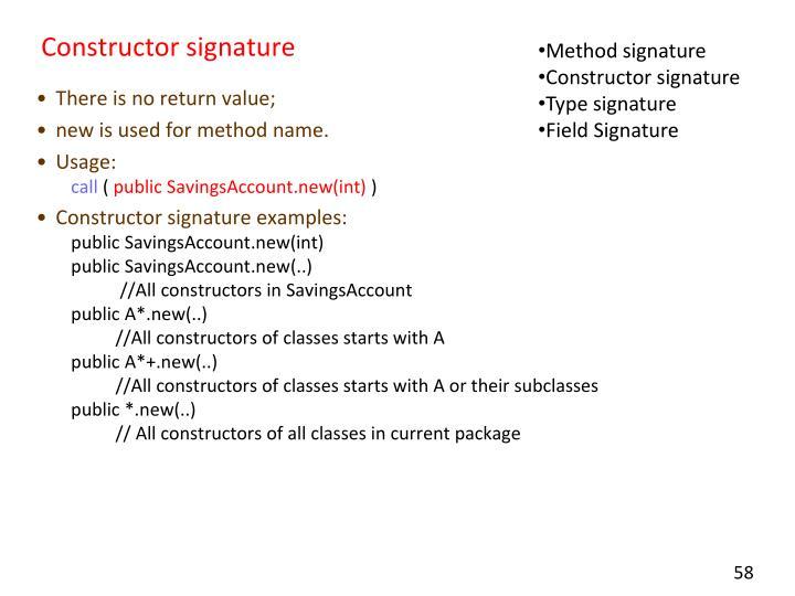 Constructor signature