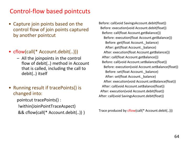 Capture join points based on the control flow of join points captured by another pointcut