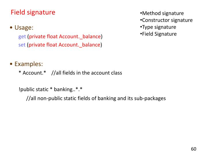 Field signature