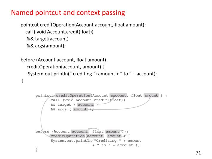 Named pointcut and context passing