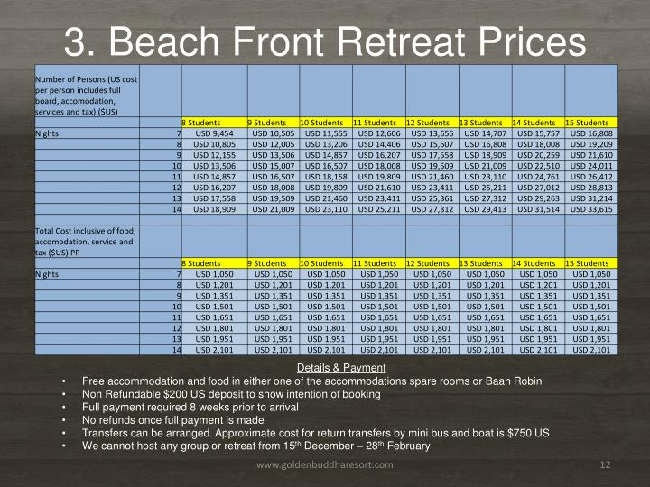 3. Beach Front Retreat Prices