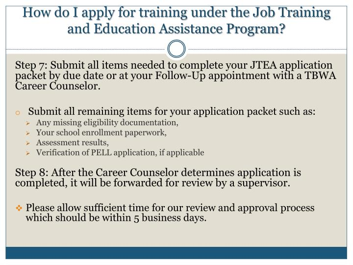 How do I apply for training under the Job Training and Education Assistance Program?