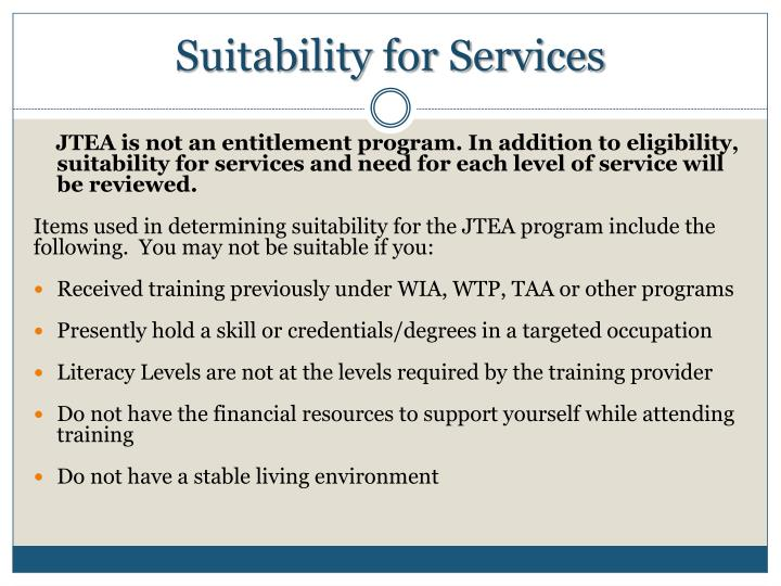 Suitability for Services