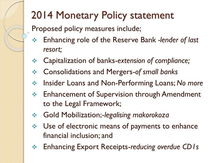 2014 Monetary Policy statement