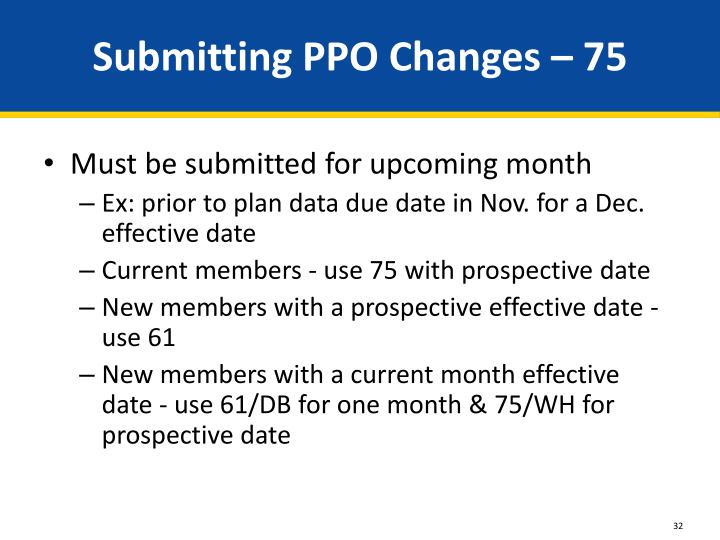 Submitting PPO Changes – 75