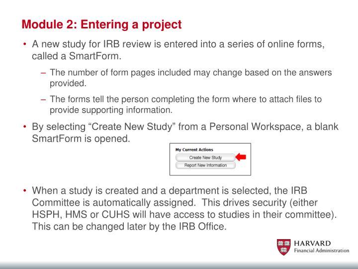 Module 2: Entering a project