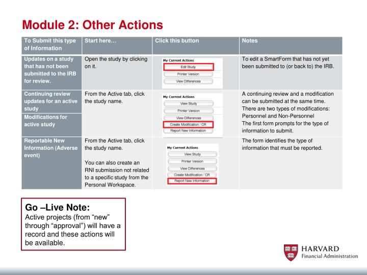 Module 2: Other Actions