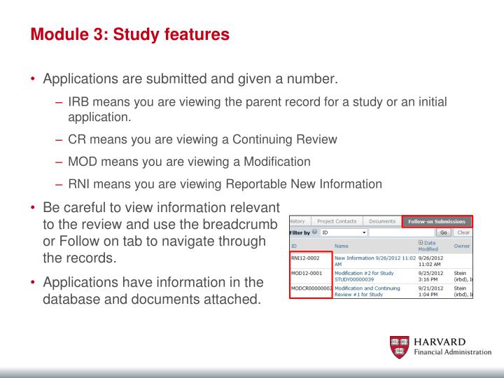 Module 3: Study features