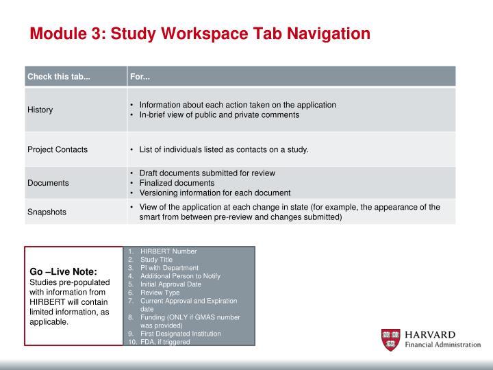 Module 3: Study Workspace Tab Navigation