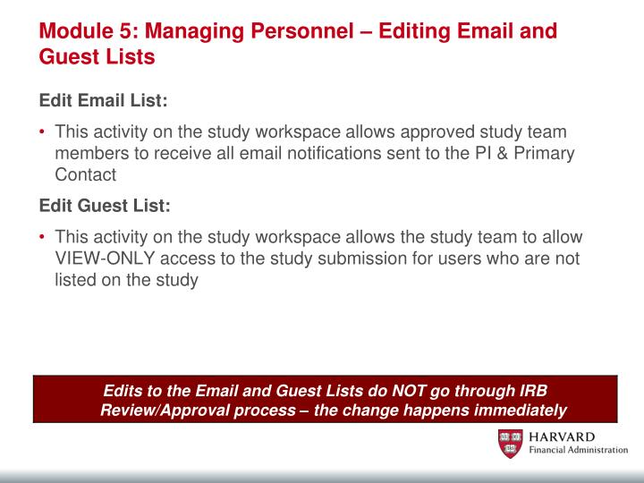 Module 5: Managing Personnel – Editing Email and Guest Lists