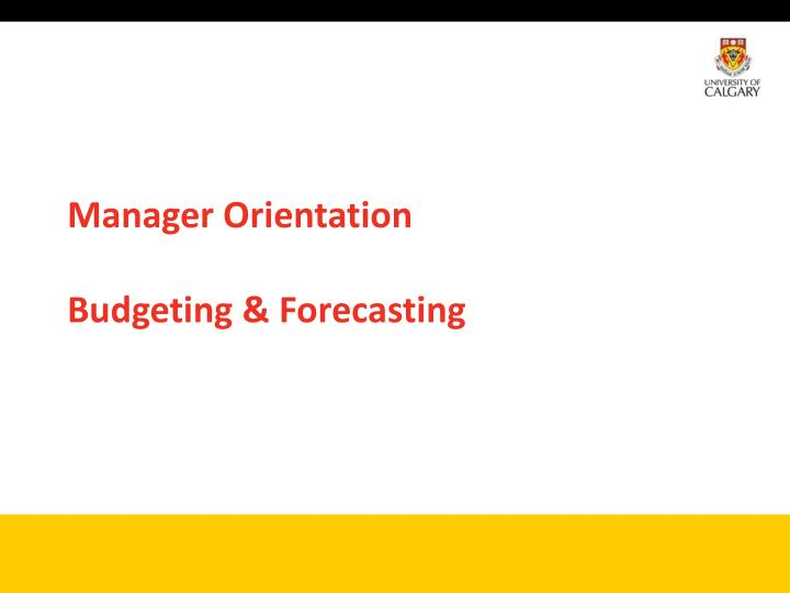 manager orientation budgeting forecasting n.