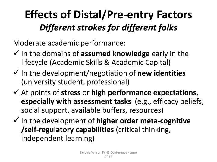 Effects of Distal/Pre-entry Factors