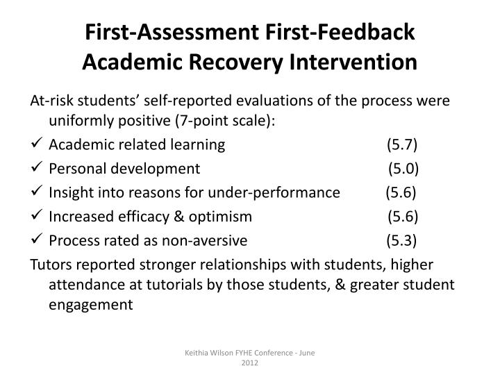 First-Assessment First-Feedback