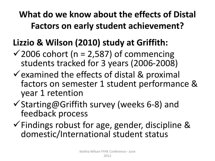 What do we know about the effects of Distal Factors on early student achievement?