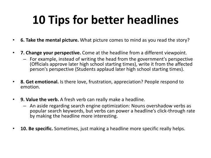 10 Tips for better headlines