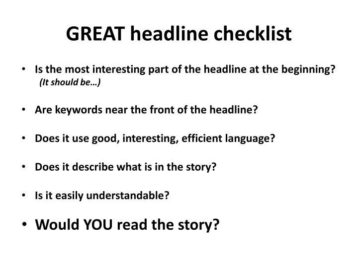 GREAT headline checklist