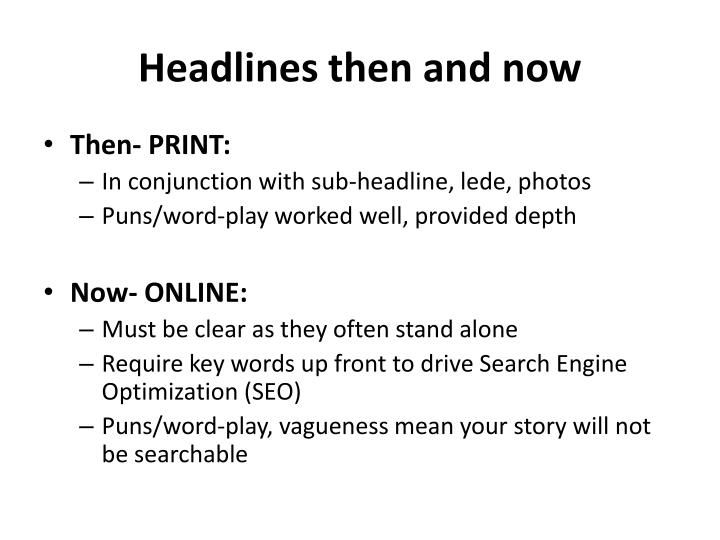 Headlines then and now