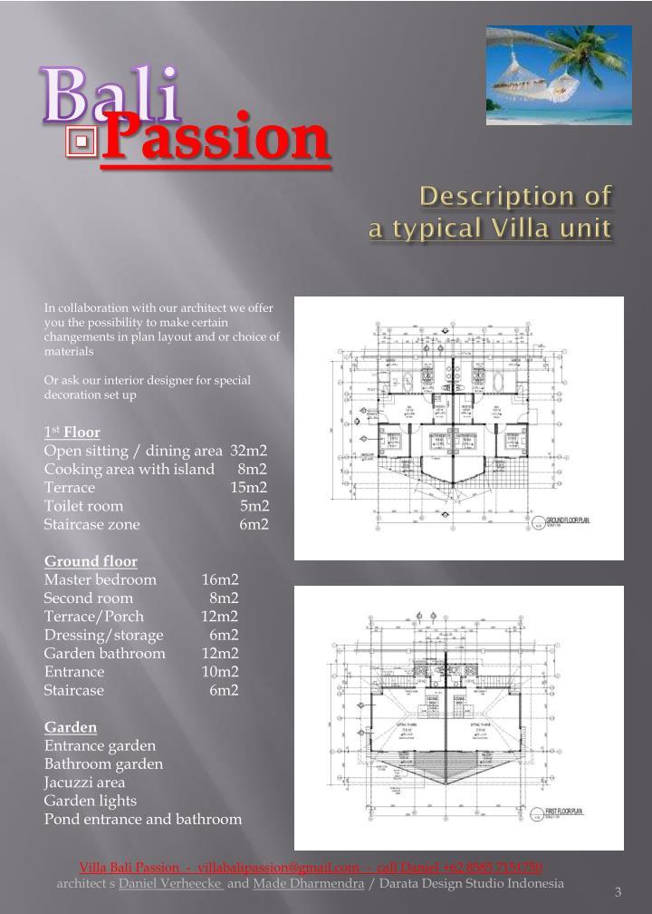 Description of a typical villa unit
