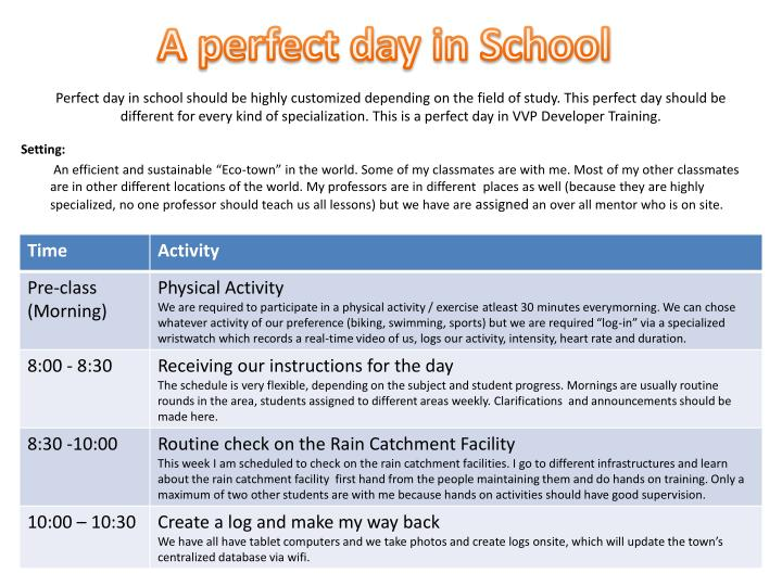 A perfect day in School