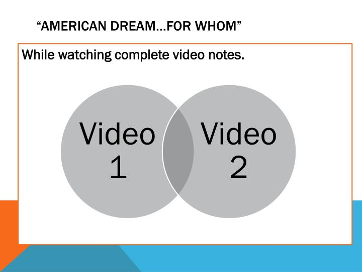 """American DREAM…FOR WHOM"""