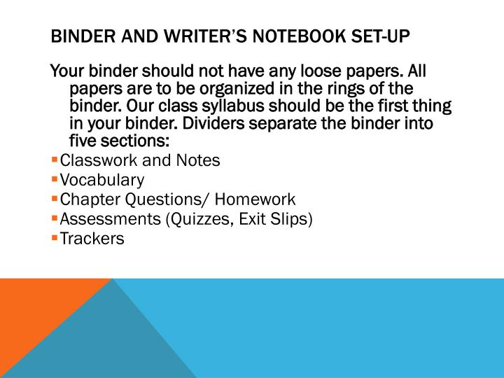 Binder and Writer's notebook Set-up