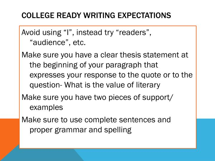 College ready writing expectations