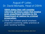 august 4 th letter dr david michaels head of osha