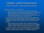 citation and enforcement svep program unanswered questions
