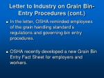 letter to industry on grain bin entry procedures cont