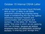october 15 internal osha letter