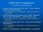 osha 2010 inspections 1 1 2010 to 10 31 2010
