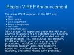 region v rep announcement