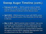 sweep auger timeline cont1