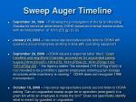 sweep auger timeline