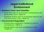 legal institutional environment